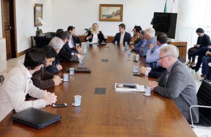 Governadora Cida Borghetti durante reunião com prefeitos da Associação dos Municípios do Sul do Paraná, AMSULPAR. Curitiba, 17/04/2018. Foto: Arnaldo Alves/ANPr