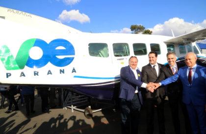 O governador Carlos Massa Ratinho Junior apresentou nesta quarta-feira no Aeroporto do Bacacheri, em Curitiba, um grande pacote de estímulo ao turismo e ao desenvolvimento econômico: o Programa Voe Paraná Foto Gilson Abreu AENPr