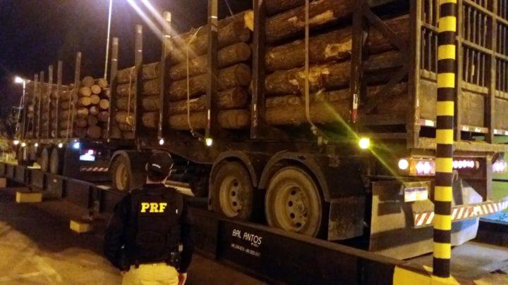 Caminhão transportava toras de madeira (Foto: Divulgação/PRF).