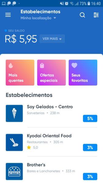 O saldo e estabelecimentos disponíveis ficam visíveis pelo aplicativo da Beblue (Foto: Reprodução).