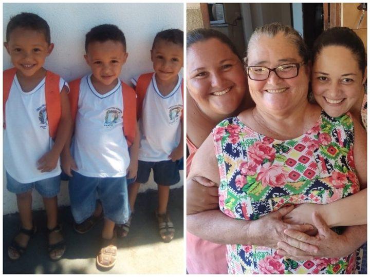 Trigêmeos à esquerda, e mãe e filhas à direita. (Foto: Arquivo Pessoal)